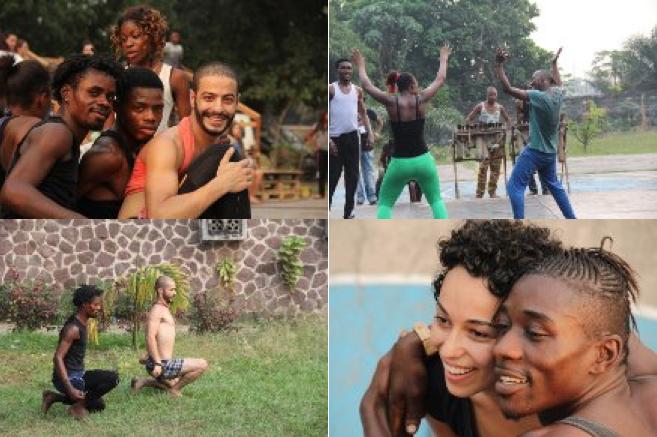 Behind the scenes: Badke working with the Congolese dance company Ballet Arumbaya Ndendeli in Kinshasa. Photo courtesy of Samaa Wakeem.
