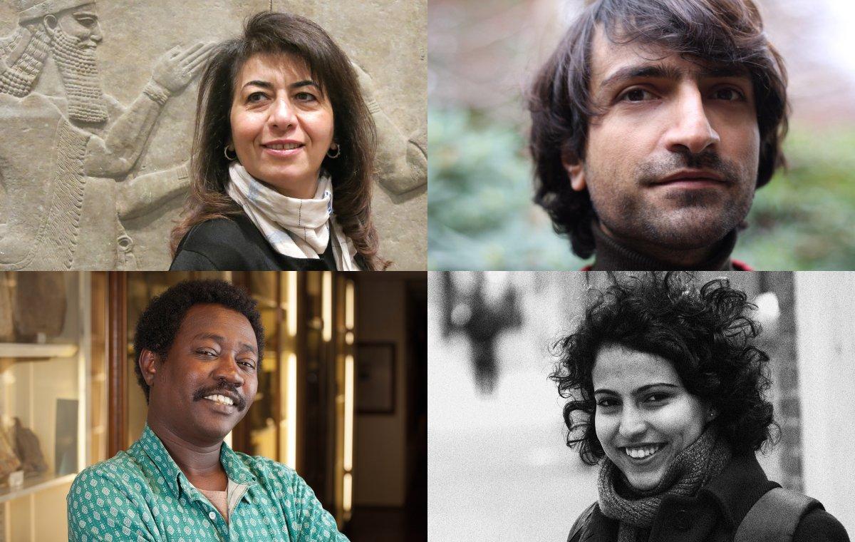 (clockwise from top left) Dunya Mikhail (photo: Cary Loren), Golan Haji, Mona Kareem and Al-Saddiq Al-Raddi (photo: Crispin Hughes)