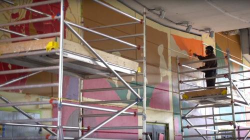 Work on Mehdi Annassi's mural, St. Mark's Road, Ladbroke Grove