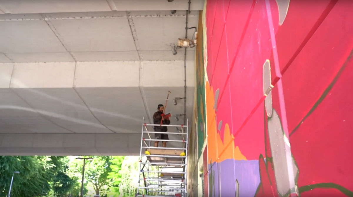 Work on Mehdi Annassi's mural, St. Mark's Road, Ladbroke Grove