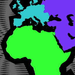 A map of the world comprising rough outlines and colour blocking