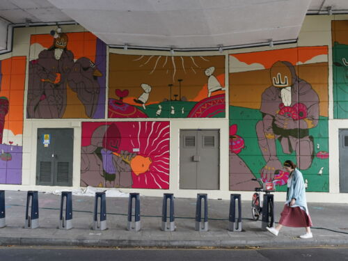 Colourful large-scale mural