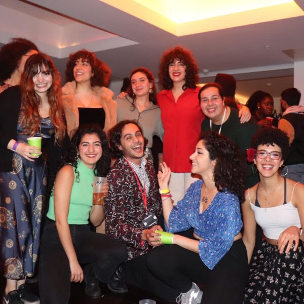 A group of 10 young people gathered together at the Lyric Hammersmith.