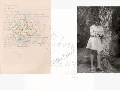 Set of three overlapping sketches and family photos