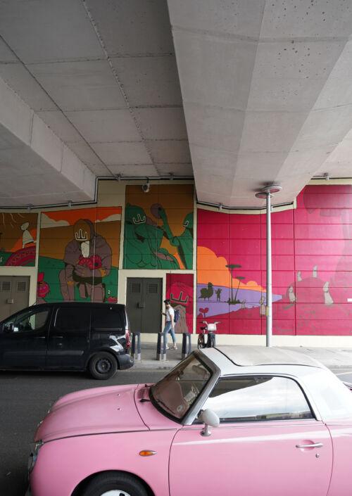 Colourful street art mural
