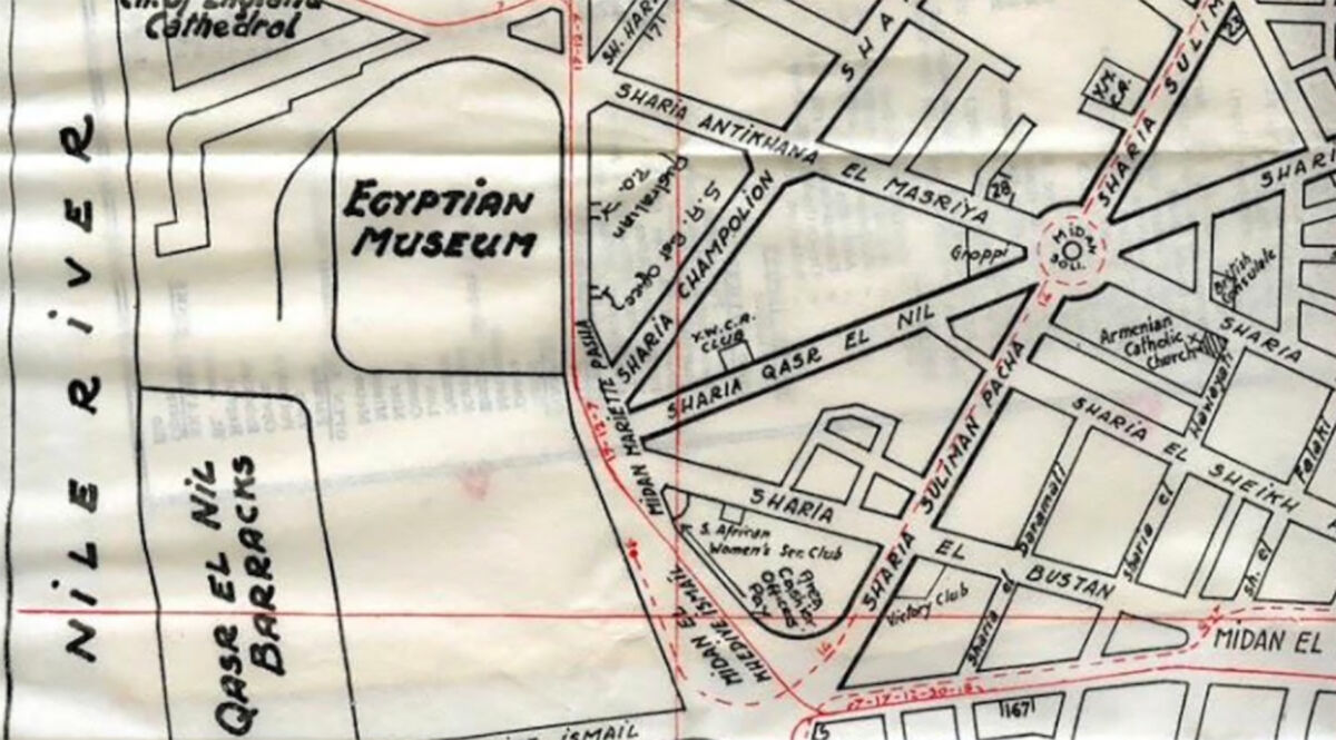 Map marking the Egyptian Museum