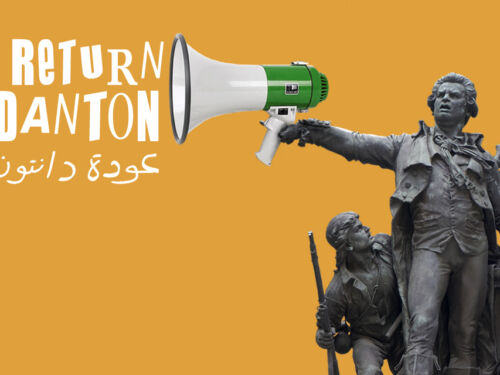 An image of a statue of Danton holding a loud hailer from which the words Return of Danton are appearing