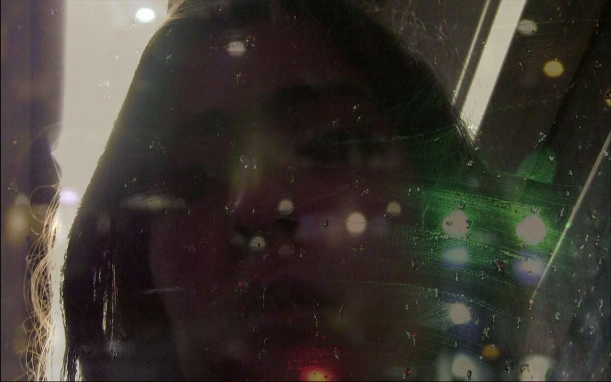 close up of face through window