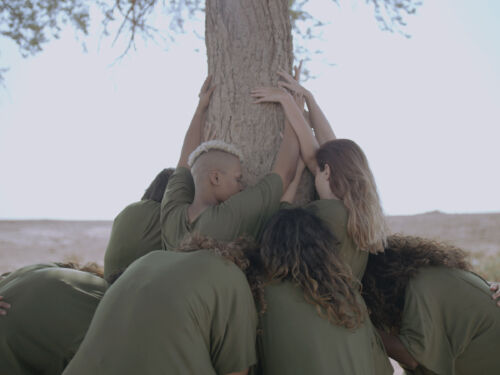 Group of performers moulded around a tree in the desert