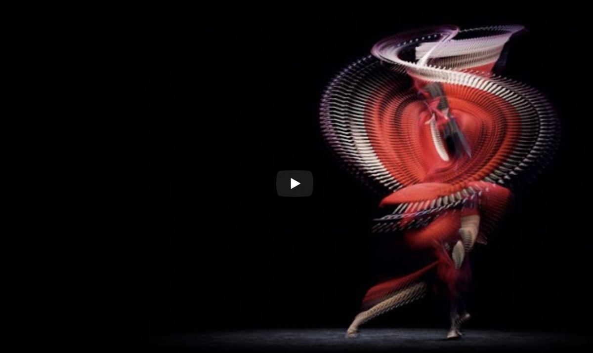 An abstract image of a spinning dancer