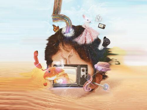 Illustration montage of head and desert landscape