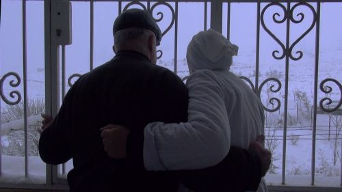 A couple with their back to the camera and  their arms around each other facing looking out of a large decorative gate.