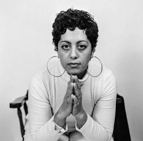 Woman in hoop earrings