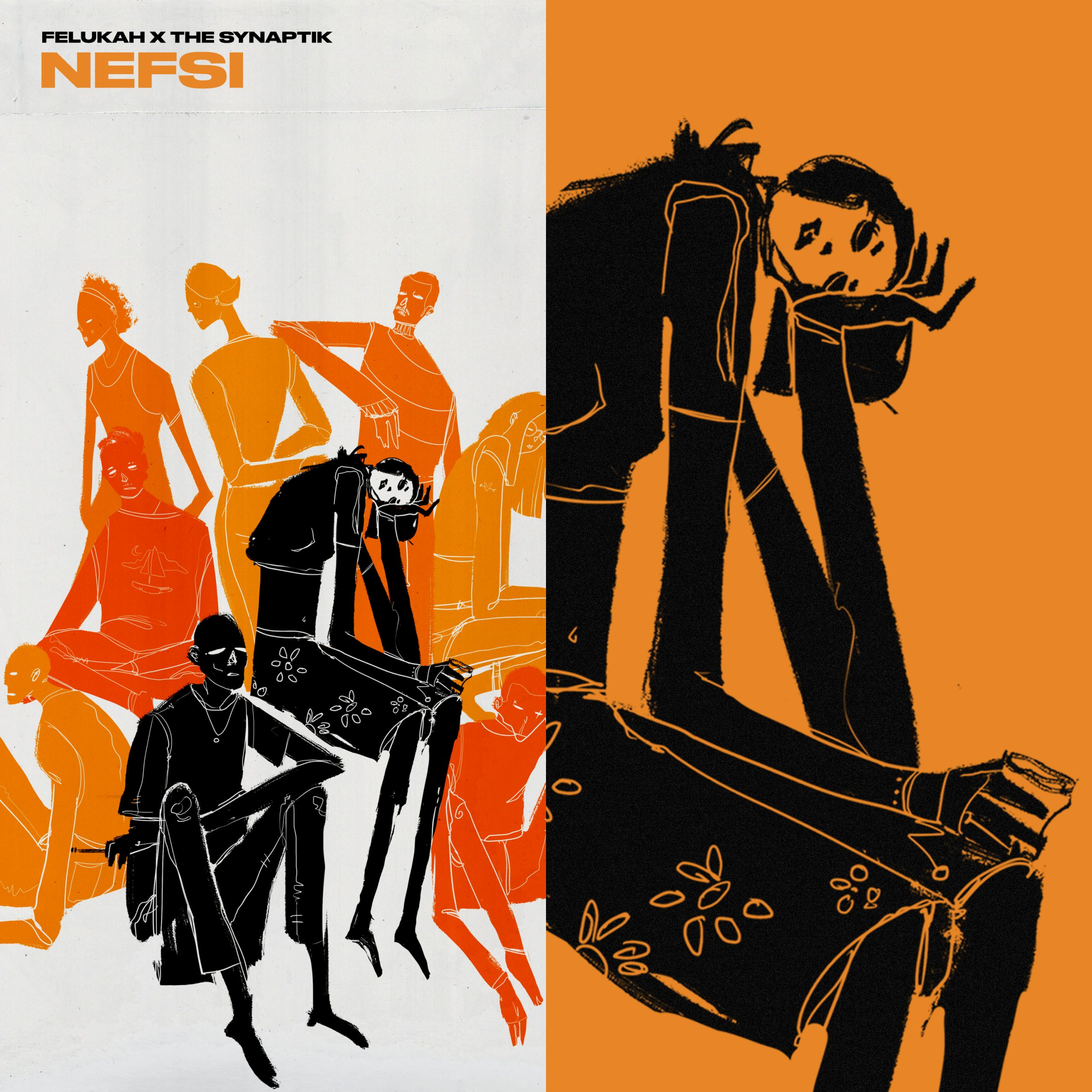 Graphic artwork for the single Nefsi comprising black, orange and red figures