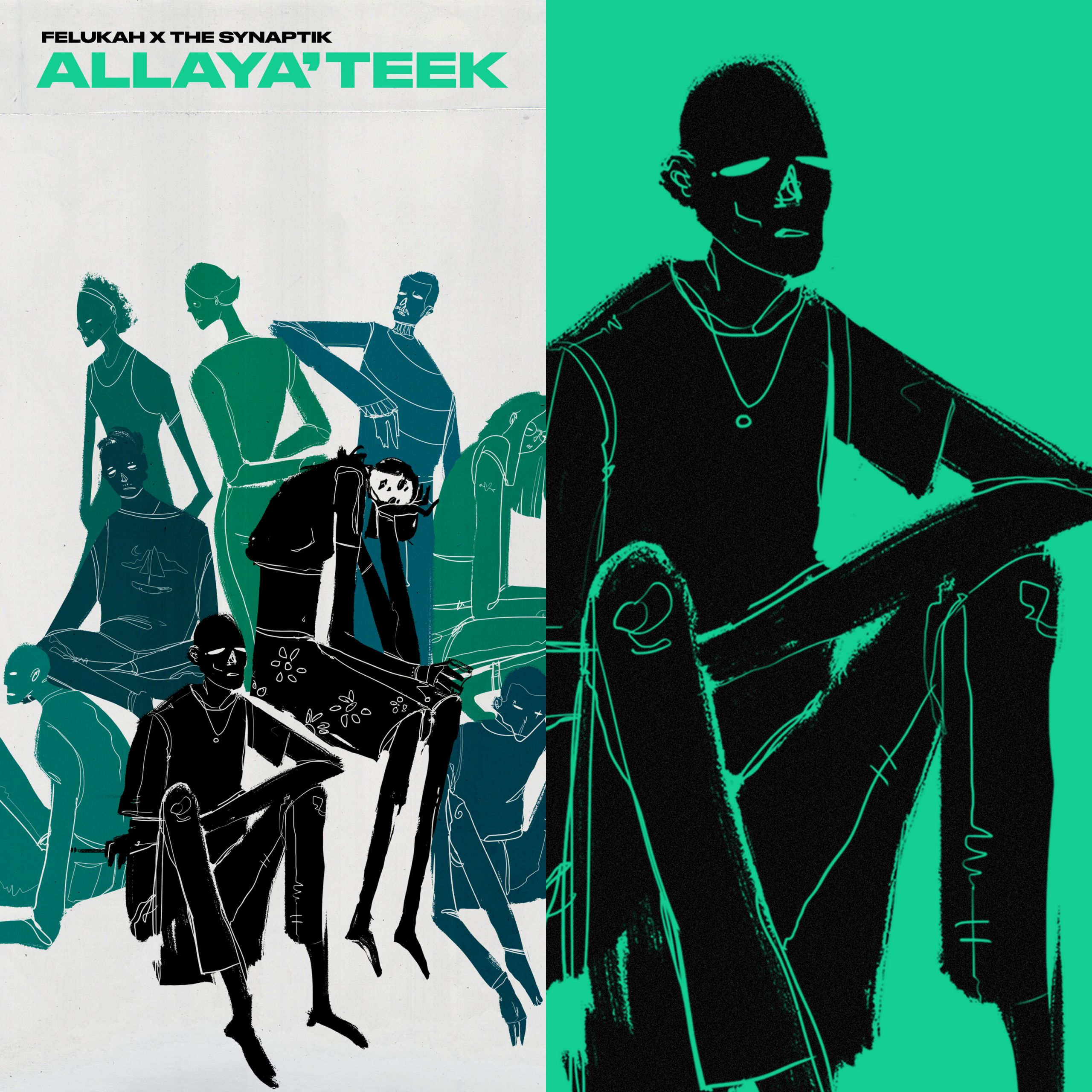 Graphic artwork for the single Allaya'teek featuring black, green and blue figures